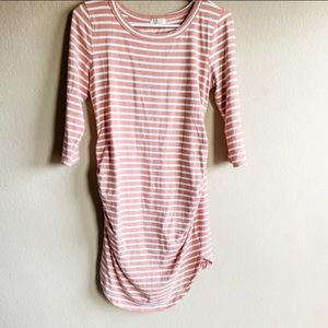 Pink & White Striped Casual Maternity Dress